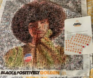 I was honored to share my photo & be a part of #theblackandpositivelygolden mosaic by @mcdonalds & @wearegolden. This is a powerful movement designed to uplift communities and shine a bright light on Black excellence. They do so through empowerment, education and entrepreneurship. Thanks for this cool bandanna with all of the beautiful black faces on there as well as the Arch cards. I love me some fries!!!! #blackexcellence #blackpower #pride #positivity