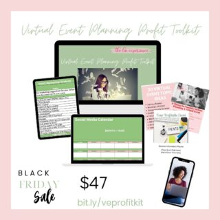 Today is that last day to get @thelmexperience Virtual Event Planning Profit Kit at $47. If you're considering a virtual event this kit is for you. It has all the tools I use to plan events and it's fully customizable. Visit bit.ly/veprofitkit or the link in my bio